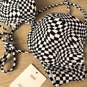NWT Urban Outfitters Checkered Bikini TOP Size S